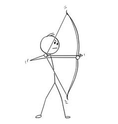 Cartoon archer with bow and arrow vector