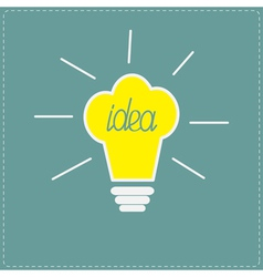 Chef hat yellow idea light bulb with shining lines vector