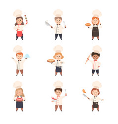 children chefs cooking in kitchen kids in uniform vector image