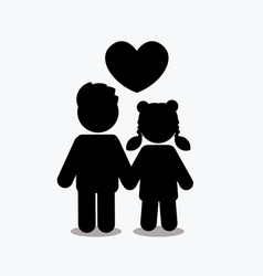 children icon love icon couple icon with heart vector image