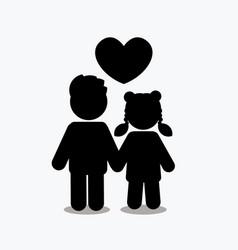 Children icon love icon couple icon with heart vector