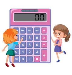 Children learning with calculator vector