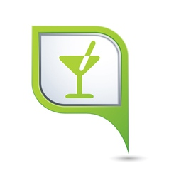cocktail symbol on green map pointer vector image