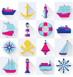 collection of ship and nautical icons in flat vector image