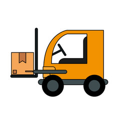 Color image cartoon forklift truck with forks vector