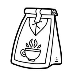 Coloring book tea packet vector