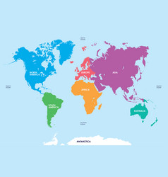 continents of the world map vector image