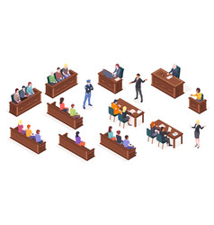 court process courtroom hearing isometric icons vector image