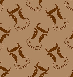 Cow seamless pattern Head of bull pattern beef vector