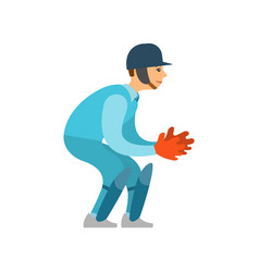 Cricket game player in helmet ready to catch ball vector