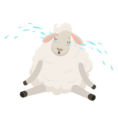 cute sad white sheep character crying funny vector image