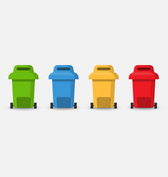 Different colored separation recycle trash bin vector