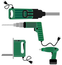 Drill screwdriver and hammer jigsaw vector