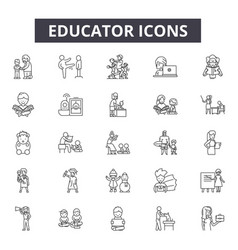 educator line icons for web and mobile design vector image
