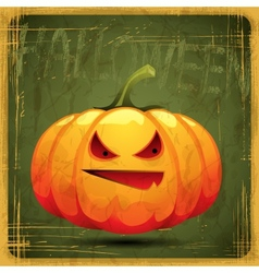 EPS10 vintage grunge old card Halloween pumpkin vector image