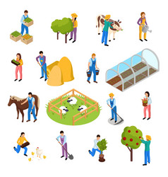 farm life isometric set vector image