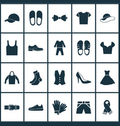 Garment icons set with singlet trilby sundress vector