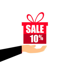 gift box on the hand with a 10 percent discount vector image
