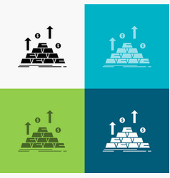 Gold coin cash money growth icon over various vector
