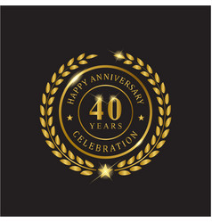 gold wreath anniversary forty years celebration vector image
