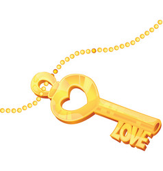 golden love key with stylized cuts vector image