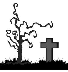 grey halloween graveyard vector image