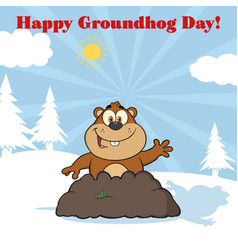 Happy marmot waving in groundhog day vector