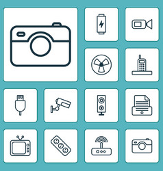 Hardware icons set collection charge vector