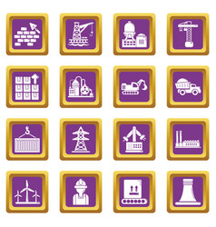 Industry icons set purple square vector