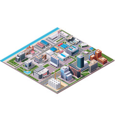 Isometric industrial and business city district ma vector