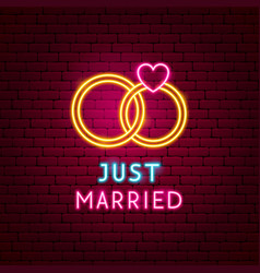 just married neon label vector image