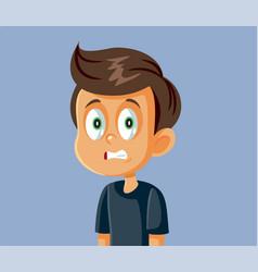 Little boy cringe face cartoon vector