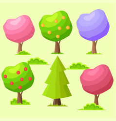 Low poly colorful trees flat set vector