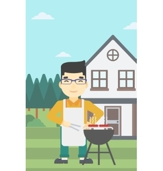 Man cooking meat on barbecue grill vector