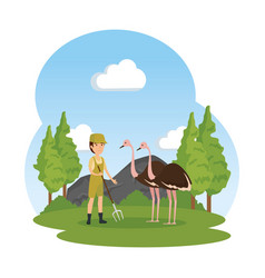 Man worker of zoo with ostrich in the field vector