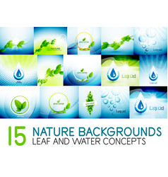 mega collection of nature leaves and water concept vector image