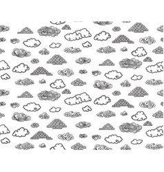 monochrome doodle sky elements seamless pattern vector image