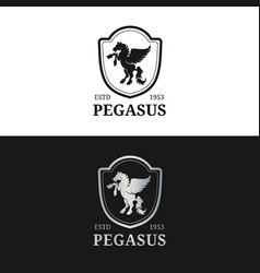monogram logo template luxury pegasus vector image