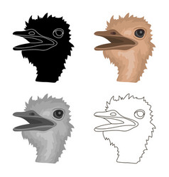 ostrich icon in cartoon style isolated on white vector image