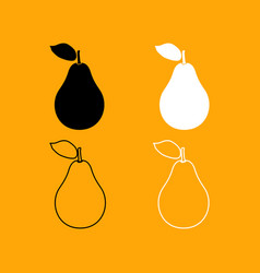 pear black and white set icon vector image