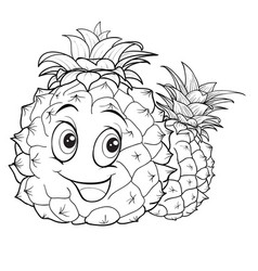 pineapple character with big eyes outline drawing vector image