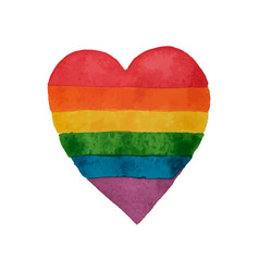 Rainbow watercolor heart lgbt heart shape hand vector