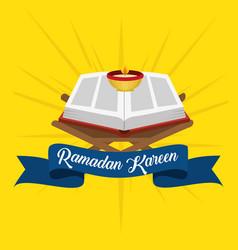 ramadan kareem card with sacred book vector image