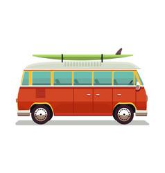 Retro travel red van icon in vector