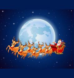 santa claus rides reindeer sleigh against a full m vector image