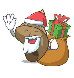 santa with gift spiral shell mascot cartoon vector image