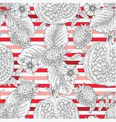 seamless pattern fruit and red stripes vector image