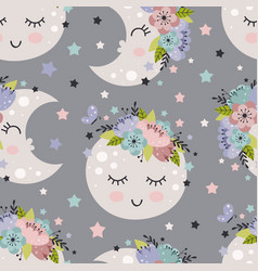 seamless pattern with beautiful moon vector image