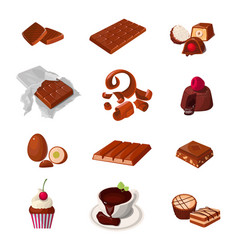 Set a chocolate products various pastry sweets vector
