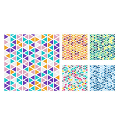 set bright color triangles simple pattern on vector image